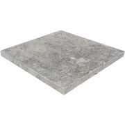 Travertine Paver Antique Silver Tumbled 406x406x30mm